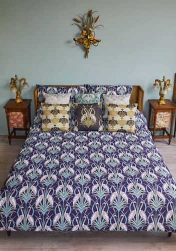 Angel Strawbridge Chateau Deco Heron Duvet Cover Collection 100% Cotton Reversible Navy & Grey